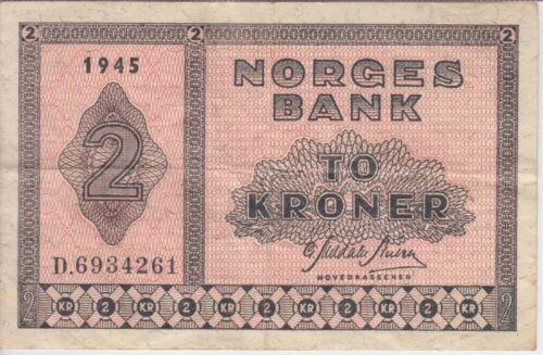 Norway Banknote P16a 3-4261 2 Kroner 1945 Prefix D, F- VF