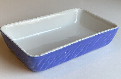 Valentina Blue Baking Dish 7.5 x 4.5 x1.5 Rectangle Vintage Italy Scalloped Edge