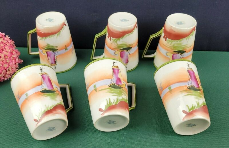 Nippon E-Oh Mug Set of 6 - Hand Painted
