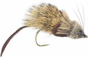 Fly Fishing Flies (Bass, Pike, Walleye, Trout, Musky, Gar) Mouse Rat Fly (x 6)