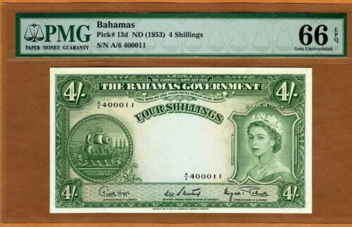 Bahamas, 4 shillings, ND (1953), P-13d, PMG-66 QEII, Gem UNC