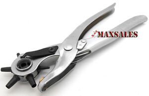LEATHER-REVOLVING-HOLE-PUNCH-Chrome-Finish-Pliers-Punch-Belt-Holes-Tool