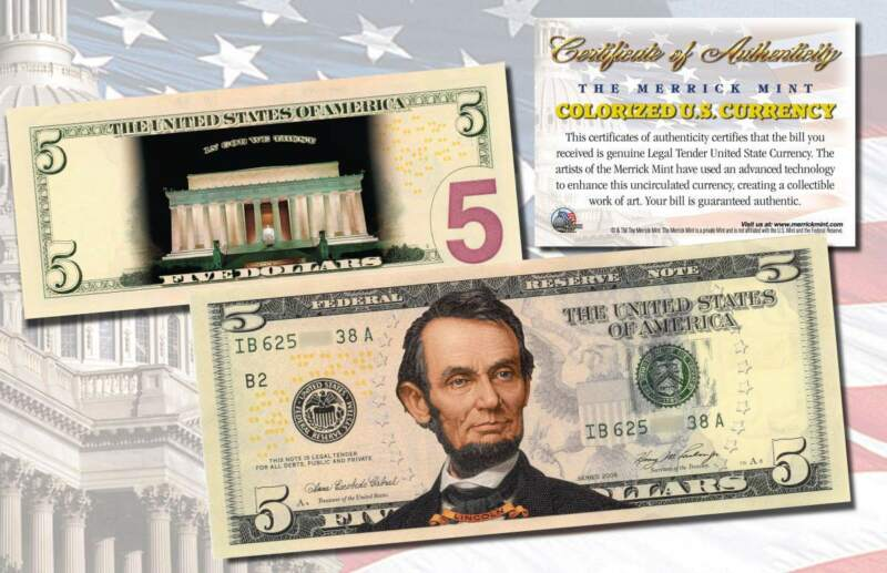 *MUST SEE* Genuine Legal Tender COLORIZED 2-Sided $5 U.S Bill (NIGHT VERSION)