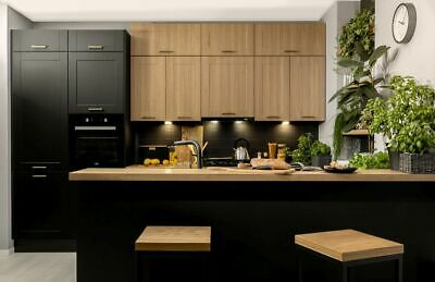 Küche Schränke Küchenzeile erweiterbar 290 cm schwarz Eiche Reveal MDF Fronten