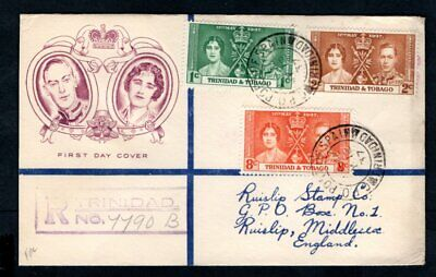 Trinidad & Tobago 1937 KGVI Coronation Illustrated Registered First Day Cover