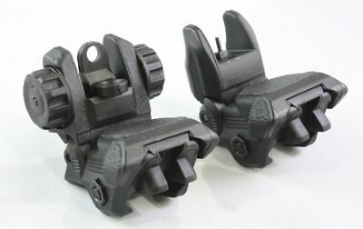 Black Polymer Picatinny Flip-Up A Pair Front & Rear Combo Sights Dual Aperture