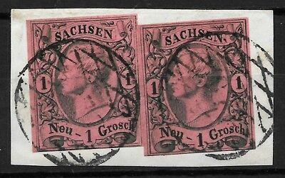 Sachsen 1855 : 2 x MiNr. 9 II c : 1 Ngr. : BPP BEFUND : N37 Frankenberg