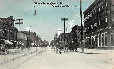 Michigan Trolley (WASHINGTON STREET OWOSSO MICHIGAN TROLLEY & HORSE CARRIAGES POSTCARD 1909)