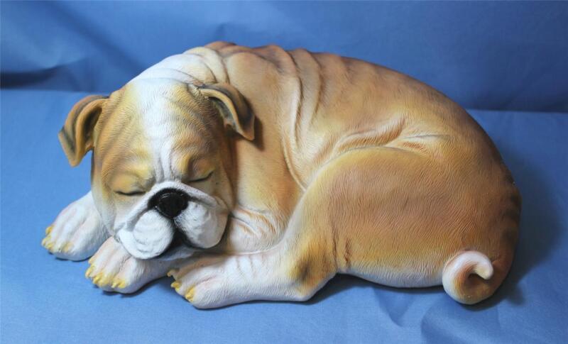 English Bulldog Statue Figurine Sculpture New Lifelike Sleeping Bulldog