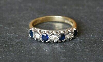 Vintage 18ct Yellow & White Gold 7 Stone Diamond Sapphire Half Eternity Ring