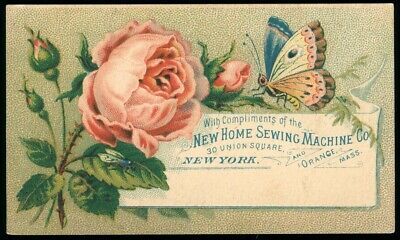 Used, New Home Sewing Machine Victorian Trade Card Pink Roses Butterfly for sale  Shipping to Nigeria