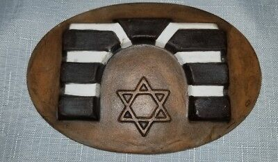 Israel Black and White Gate Plawue Clay With Star Of David Souvenir