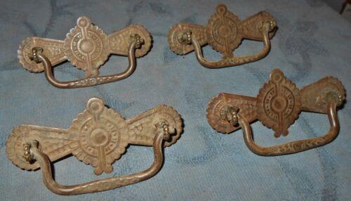 Great Set  4  Antique  Eastlake Design  Brass  Drawer Pulls