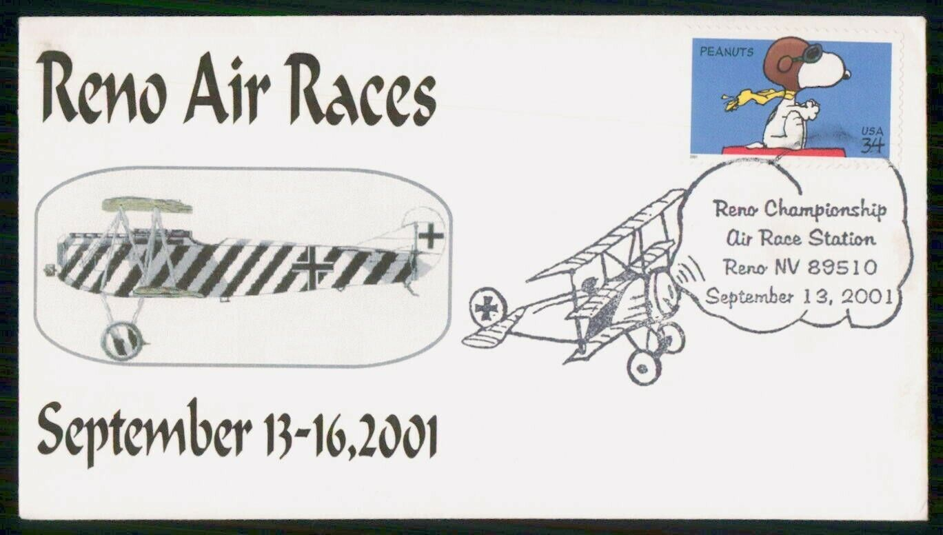 Mayfairstamps US 2001 Snoopy Reno Air Races Cover Wwh 89875 - $1.00
