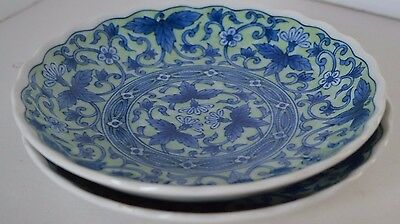 Vintage Blue Green White Asian Chinese Flower Plate Lot of 2 Signed