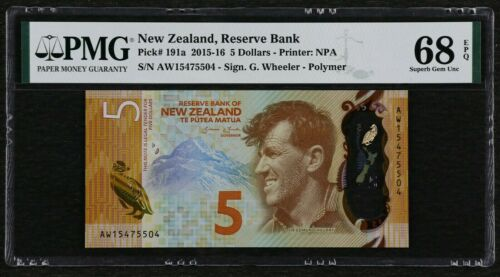2015-16 New Zealand 5 Dollars, P-191a, PMG 68 EPQ Superb Gem UNC