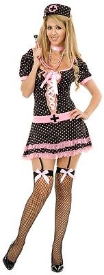 Midnight Nurse Outfit Black Pink Fancy Dress Up Halloween Sexy Adult Costume