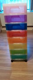 Multi coloured storage tower
