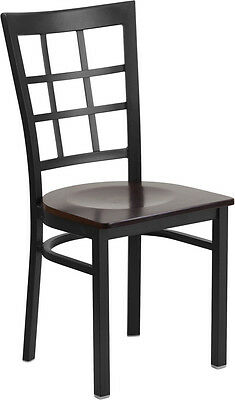 Black Window Back Metal Restaurant Chair With A Walnut Finished Wood Seat