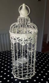Wedding vintage shabby chic beaded tea light candle birdcage