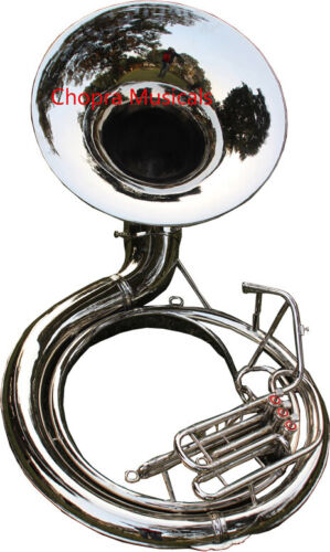 "Sousaphone 25"" Bell Largest Size Nickel Plated ""Chopra Make"" 3 V  BAG & M/PIECE"