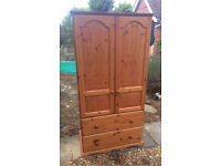 Beautiful solid chunky pine wardrobe. Local delivery