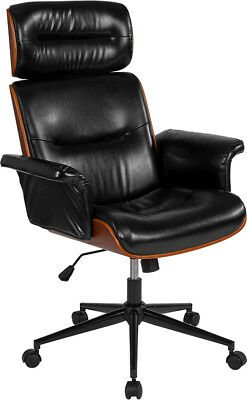 Black Leather High Back Walnut Wood Executive Swivel Ergonomic Office Chair for sale  Canton