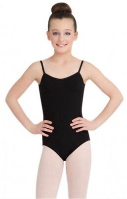 🐞 CAPEZIO Girls Black V-Neck Leotard Cami Adj Straps Sz IC 6x 7  ()