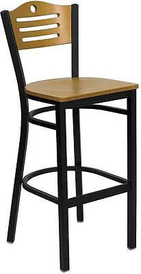 Lot Of 6 Black Slat Back Metal Restaurant Bar Stool - Natural Wood Back Seat