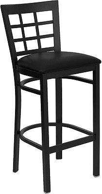 Black Window Back Metal Restaurant Bar Stool With Black Vinyl Seat