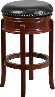 29'' Backless Light Cherry Solid Wood Bar Stool with Black Leather Swivel Seat ()