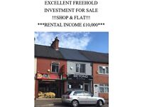 !!! FREEHOLD, FOR SALE, INVESTMENT, PROPERTY, PIZZA, SHOP ,AND FLAT,£10K RENTAL INCOME,PRICE £110K