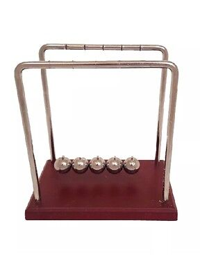 Classic Newtons Cradle Large 7 14 Inch Dark Brown Wooden Base Balance Desk Top
