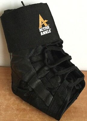 ACTIVE Ankle Brace Sports Black Support Adjustable Lace Right / Left Medium