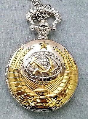 Russian Gold & Silver Pocket Watch CCCP Hammer Sickle Army Cold War Old KGB WW2 Army Gold Pocket Watch