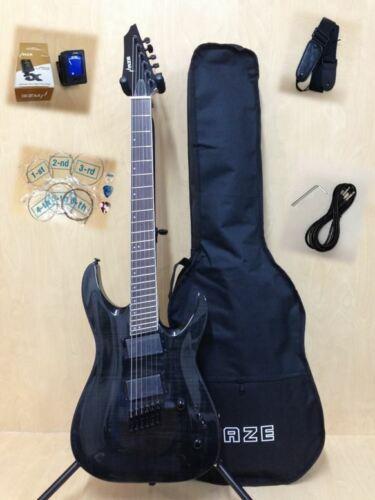 Haze 6FF TBK Trans Black Fanned-Fret Electric Guitar +Free Gig Bag,Digital Tuner