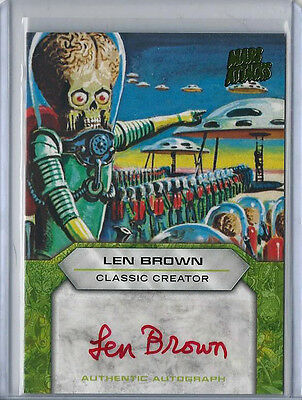 Len Brown 2013 Topps MARS ATTACKS INVASION Autograph Card Auto Creator Red Ink