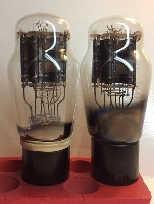 Pair  2  2A3 Tube French Rt Vintage 2A3 Triode Audio Amplifier 1951 Or Older