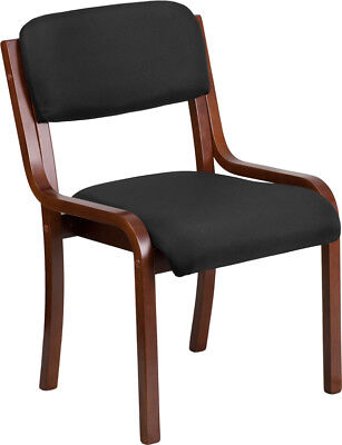 Walnut Wood Side Reception Chair With Black Fabric Seat