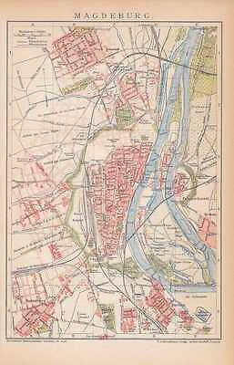 MAGDEBURG Neue Neustadt Brückfeld Stadtplan um 1894 Sudenburg Buckau Citadelle