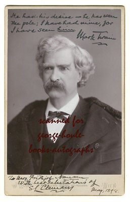 MARK TWAIN~SIGNED TWICE~CABINET PHOTOGRAPH ~1898
