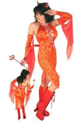 Sultry Devil Dress Costume Flames Horn Head Piece Tail Pitchfork Gloves 4x New