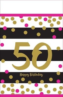 HOT PINK AND GOLD 50th BIRTHDAY PLASTIC TABLE COVER ~ Party Supplies Cloth Adult - Hot Pink Plastic Tablecloth