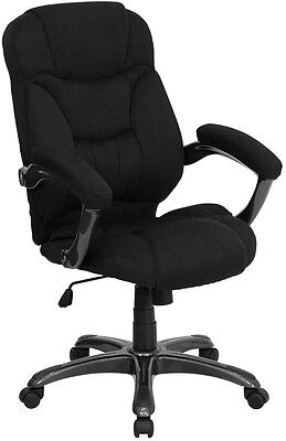 Black Microfiber Fabric Computer Office Desk Chair