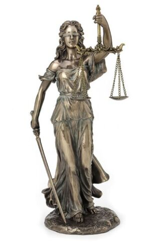 "13.25"" Goddess of Divine Justice Holding Sword & Scale Statue Sculpture Roman"