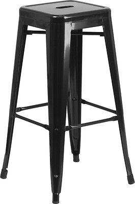 - 30'' High Backless Black Metal Restaurant Bar Stool - Industrial Style Bar Stool
