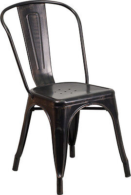 Black-antique Gold Metal Indoor-outdoor Chair Ch-31230-bq-gg - Set Of 4