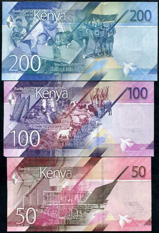KENYA SET 3 UNC 50 100 200 SHILLINGS 2019 P NEW DESIGN UNC