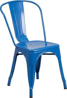 Blue Metal Indoor-outdoor Stackable Chair Ch-31230-bl-gg - Set Of 4
