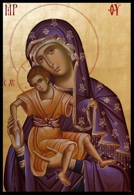 Used, Theotokos Panagia  Hand painted Eastern Orthodox Byzantine icon 22k gold leaf for sale  Shipping to Canada